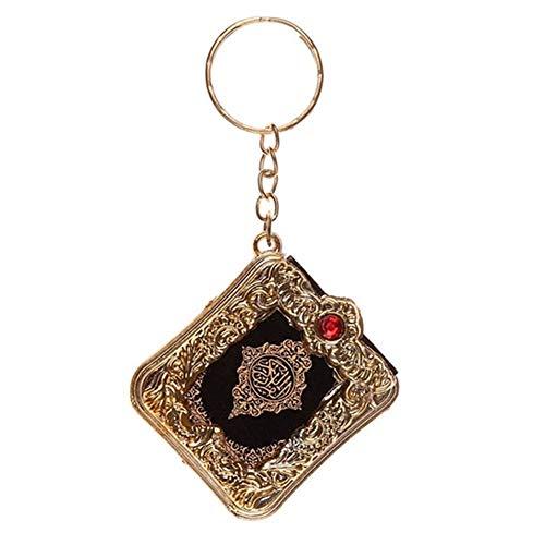 YUnnuopromi Vintage Mini Arche Koran Buch Koran Anhänger Muslim Schlüsselanhänger für Auto Geldbörse Tasche Ornament, Plastik, goldfarben