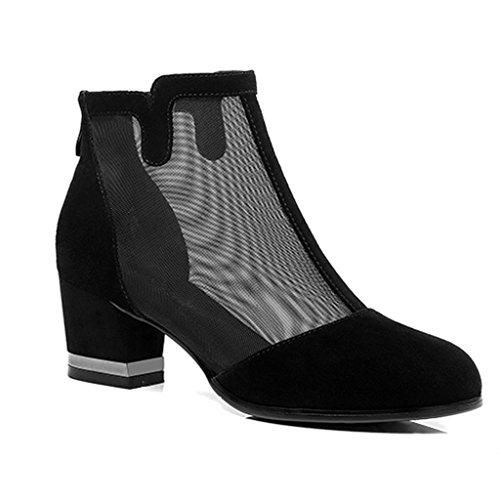 ZCJB Sandales Printemps Saison Sandales Épais Avec Bottes Femme Simple Bottes Mi-Talon Fil Net Grande Taille Bottes Pour Femmes