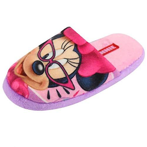Pantofole da ragazza minnie, morbidissime e comode, suola antiscivolo, rosa (rosa e viola), 29 eu