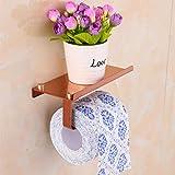 Porte-rouleau de papier toilette autocollant en acier inoxydable pour rouleau de papier toilette WC Or rose taille unique or