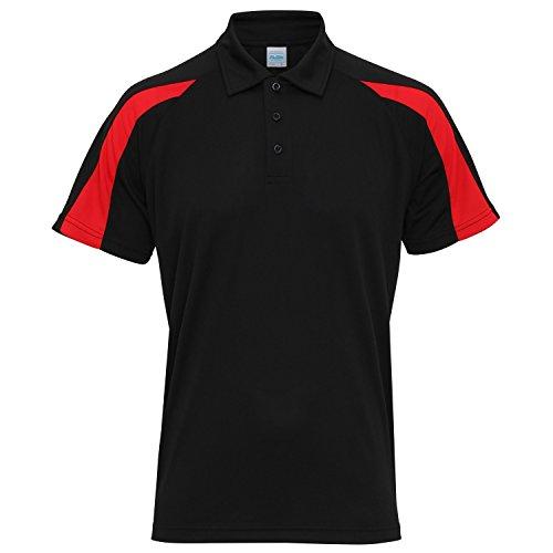 AWDis Just Cool Herren Kurzarm Polo Shirt mit Kontrast Panel Jet Schwarz/Feuerrot