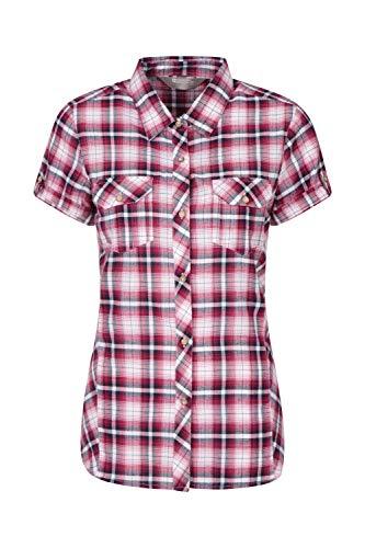 Mountain Warehouse Holiday Baumwollhemd für Damen - Kurzärmliges Oberteil für Damen, Freizeithemd, leichtes Sommerhemd, atmungsaktive Bluse - Für Reisen, Wandern Dark Pink DE 48 (EU 50)