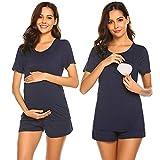 Unibelle Schwangere Krankenhaus Pyjamas Schwangerschafts- und Stillshirt Umstandsmode Navyblau M