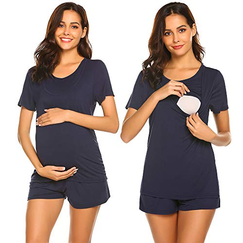 Unibelle Damen Pyjamas Schwangerschaft Umstandsschlafanzug Sommer Stillshirt und Umstandsshort