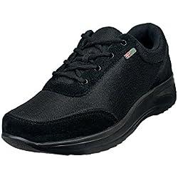 Wallin® para Hombre Flex cordones, Rocker Sole, reduce la presión, alivia pie, talón, rodilla dolor, color Negro