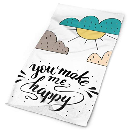Magic Headwear Outdoor Scarf Headbands Bandana,You Make Me Happy Calligraphy With Doodle Sun And Cloud Kids Cartoon Joyful Love,Mask Neck Gaiter Head Wrap Mask Sweatband