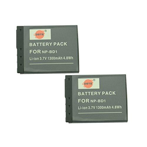 DSTE 2-Pack Ersatz Batterie Akku for Sony NP-BD1 NP-FD1 Cyber-shot DSC-G3 DSC-T2 DSC-T70 DSC-T75 DSC-T77 DSC-T90 DSC-T200 DSC-T300 DSC-T500 DSC-T700 DSC-T900 DSC-TX1 Kamera Tx1 Kamera