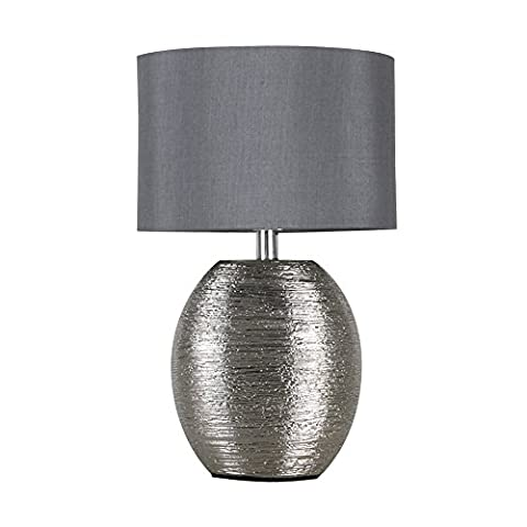 Modern Textured Metallic Chrome Effect Ceramic Table Lamp with a Grey Fabric Light Shade
