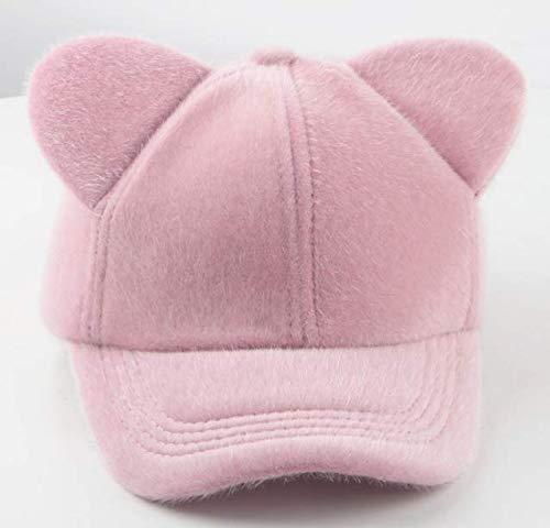 BLWD Autumn and Winter Parent-Child Wool Felt Cat Ears Cap Pink -