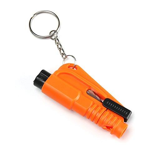 Koreyoo Auto Sicherheitshammer Flucht Notfallschlüssel Ring Werkzeug 3 in 1 Sicherheitsgurt Cutter Fenster Breaker Whistle 5 Farben - Auto Werkzeug Flucht