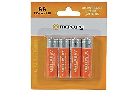 Piles Rechargeables AA Mercure / Batterie Paquet de 4 / Ni-MH / 1300mA / 1.2V / Pour Radios, Télécommandes, Horloges Etc / iCHOOSE