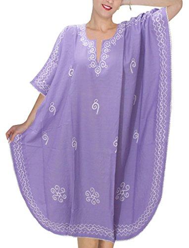 LA LEELA Frauen Damen Rayon Kaftan Tunika Bestickt Kimono freie Größe kurz Midi Party Kleid für Loungewear Urlaub Nachtwäsche Strand jeden Tag Kleider violett_O561 -