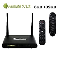 QINTAIX Q912 Android 7.1 TV Box ,3GB RAM 32GB ROM Amlogic 64 bit Octo-core 4K Ultra HD TV Box ,Supports 2.4G/5G Dual Wifi 1000M LAN Ethernet Bluetooth 4.1