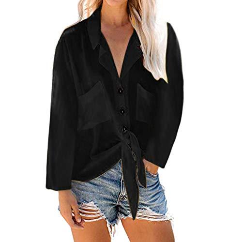 Frauen Herbst und Winter Tops T-Shirt Top Frauen Casual Bluse Solide Long Sleeves Umlegekragen Taschen Button Front Shirt Tops Gelb Pink Schwarz S-XXL (L, - Erstaunlich Kostüm Zum Verkauf