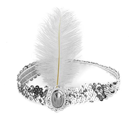 Damen Weiß Feder Vintage Stirnband Kopfband Prallplatte Federstirnband