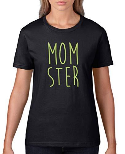 Comedy Shirts - Momster - Damen T-Shirt - Schwarz/Grün Gr. XS (Für Gesichter Halloween-kürbisse Schaurige)