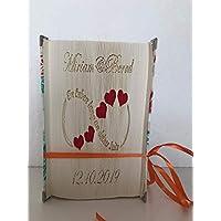gefaltetes Buch -mit Wunschnamen und Datum, Hochzeit, Jahrestag