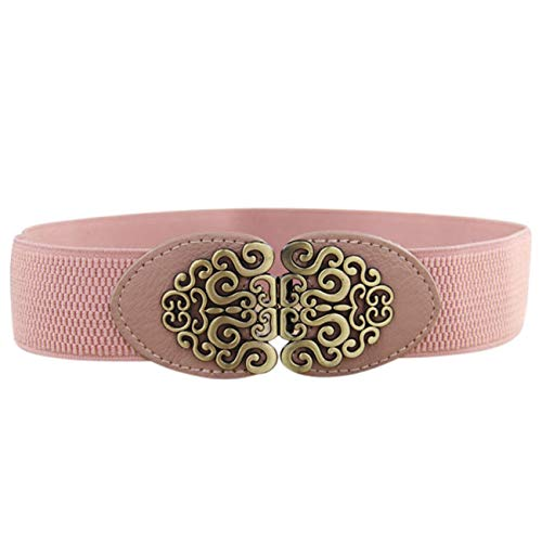 PmseK Gürtel Damen Herren Faux Leather Belt Women Casual Solid Automatic Vintage Buckle Waist High Quality Strap Belts Dropshipping B0220 Pink 65cm
