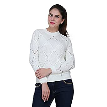 MansiCollections Knitted Pullovers in Crème Color for Women