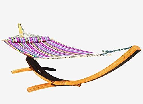 410cm XXL hamac stand ÉDITION NATURELLE REMPLIE ROSE mélèze en bois avec hamac (REMBOURRÉ) et coussins de AS-S