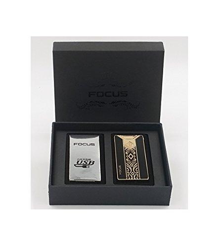 Focus USB elektronisches Feuerzeug mit Lichtbogen in 5 Farben erh&aumlltlich (Elegant)