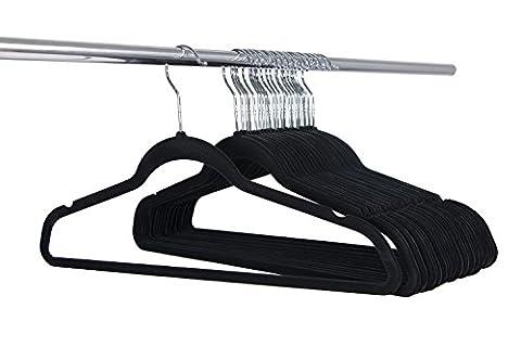 Cintres en velours, Cintres non glissants Space Saving Cintres ultra-minces, Pack de 15, Noir