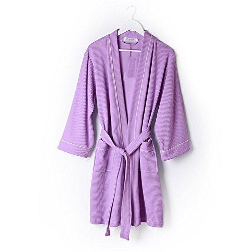 DHG Khan Dämpfende Kleidung Weibliche Modelle Baumwolle, Gaze Bademäntel Langarm Badeanzüge, Hochwertige Heiße Quelle Badetücher,Lila,XXXL