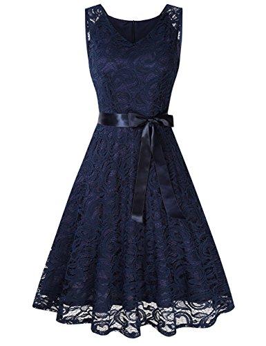KoJooin Damen Kleid Brautjungfernkleid Knielang Spitzenkleid Ärmellos Cocktailkleid Dunkelblau Navyblau XL (Blaues Kleid Ärmelloses)