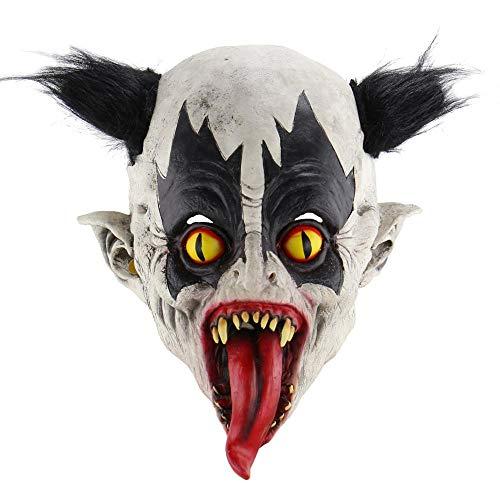 Wbdd Maske Beängstigend Böse Clown Maske, Doppelte Gesicht Latex Gummi Maske Halloween Kostüm Maske (Blut) Clown Mit Haaren Für Erwachsene Masken Fledermaus-Clown (Herren Halloween-kostüme Böser Clown)
