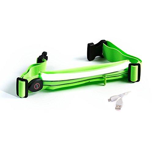 Reflektierende Running Gear von sport2people–LED reflektierende Läufer Gürtel–Laufen Fanny Pack–Runner Taille Pack–reflektierendes Licht Running Gürtel–Hohe Reflektierende Gear für Laufen, W Green Fluo