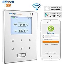 Elitech RCW-800 Wifi Capteur Moniteur de Température et d'Humidité Sans Fil, application mobile, Appareil Android,Contrôle à distance, Intérieur et Extérieur, Fonction Alarme.