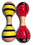 Lia Holz Rassel 2 Stück. Set, Marienkäfer, Biene. Baby, Holzrassel 15x5cm tolles Geschenk für Kleinkinder Holzspielzeug für Kinder Spielzeug