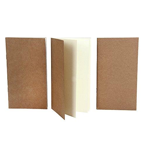 XUAN Tagebuch Schlicht, Notizbuch/Traveler's Notebook Refills, Travel Journal Refills Bullet Journal Einlagen Dotted/Gepunktet/Punktiert/Dot, Hochwertig 64 Seiten x 3 Stück, 19 x 10.5 cm