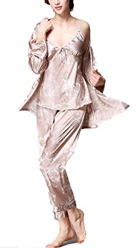 Jusfitsu Damen Klassische Spitze Seide Pyjama Set Sleepwear Homewear Schlafanzug 6 Farben Kamel