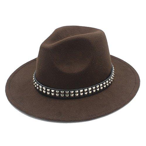 MTX-Sonnenhüte Hut, Frauen Männer Wolle Fedora Hut für Gentleman Lady Jazz Hüte mit Punk-Band (Farbe : 2, Größe : 57-58 cm)
