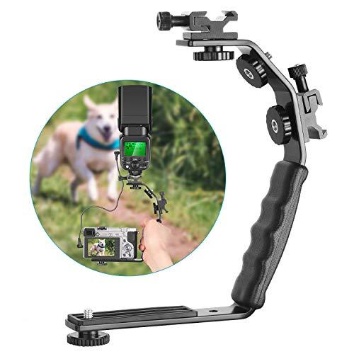 L-Form Blitz Klammer mit Dual Blitz Kaltschuh Montage 1/4 Zoll Stativ Schraube Vielseitig Handgehalten für Kamera Camcorder Video Aufnahmen und Produktfotografie ()