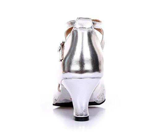 SQIAO-X- Scarpe Da Ballo, Adulti Di Gomma Antiscivolo Punto Bassa Luce-Square Dance Latina Scarpe Da Danza Argento (5cm)