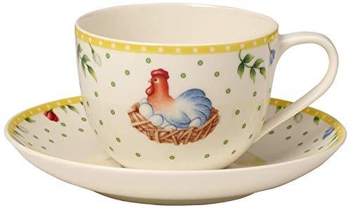 Villeroy & Boch Spring Awakening Kaffee-Set Hahn & Henne 2-teilig , Premium Porzellan, mehrfarbig (Mikrowellen Oster)