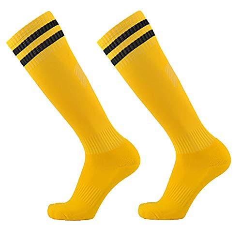 pengyu- - Erwachsene Kinder Atmungsaktive Anti-Rutsch Fußball Sport Langrohr Socken, Fußballsocken, Ballsport - Gelb Schwarz Kinder