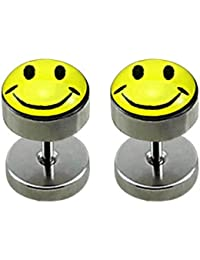 Pair of Fake Plugs by BodyTrend - Surgical Steel 316L - SMILE- size 8mm - 2 pieces in one plastic bag