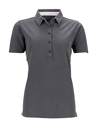 Polo shirt con detttagli alla moda James & Nicholson graphite/white-red