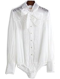 Mayihang Blusa Camisa Blusa de encaje Blusa femenina Spring,Blanca,XL