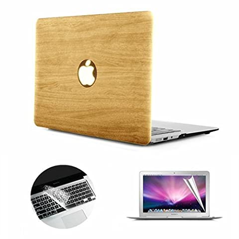 Macbook Pro Case, Se7enline Premium PU Leather Coated LOGO See Through Hard Case Cover for 13 inch Apple Macbook A1278 with Silicone Keyboard Skin and LCD Screen Protector, Wood Texture Pattern