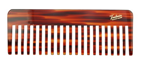 Fantasia Styling Kamm, Schweizer Premium Qualität, grober Haarkamm im Havanna Design, vegan und Handarbeit, 16cm -