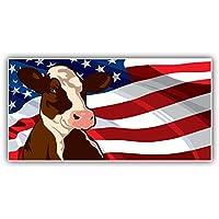 Bandiera stati uniti d' America Cow World Art Decor adesivo paraurti 15x 8cm