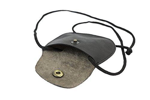 LEAS Kinder Brustbeutel aus Echt-Leder mit Druckknopf und verstellbarem Umhängeband perfekt für Schule und Kindergarten 9x7,5x1cm (BxHxT) (schwarz)