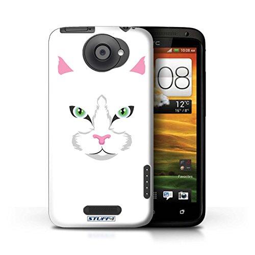 Kobalt® Imprimé Etui / Coque pour HTC One X / Chat blanc conception / Série Museaux Chat blanc