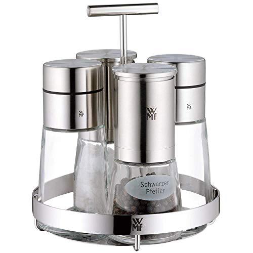 WMF De Luxe Menage-Set, 5-teilig, Dosierer, Salzmühle, Pfeffermühle Ständer, Cromargan Edelstahl rostfrei, Glas, spülmaschinengeeignet