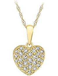 Pave Prive Women's 9ct Yellow Gold Round White Diamonds Small Intricate Heart Pendant Necklace of 44.5cm