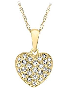 Pavé Privé Damen 9ct Gelb Gold Rund Weiß Diamanten klein komplizierte Halskette Herz Anhänger 44,5cm